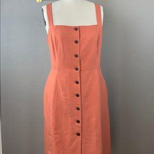 GAP coral apron button front linen dress